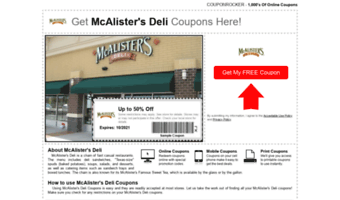 image about Mcalister's Coupons Printable titled â–· Follow Mc Alister S Deli
